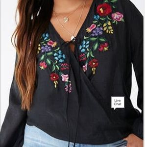 Forever 21 Plus Embroidered Floral Surplus Top
